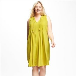Old navy pintuck swing dress lime green